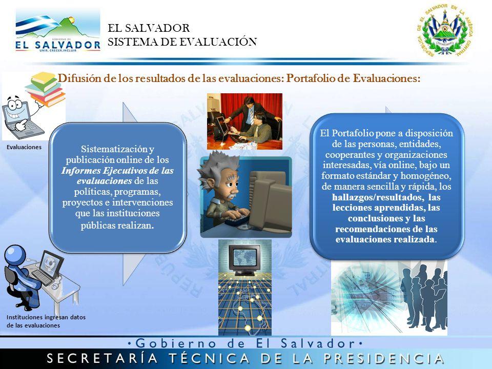 MAG (4) Proyecto de Desarrollo y Modernización Rural para la zona Oriental (PRODEMORO) Proyecto de Desarrollo y Modernización Rural para la zona Central y Paracentral (PRODEMOR CENTRAL) Proyecto de Desarrollo Rural del Nor-Oriente de El Salvador Programa de Reconstrucción y Modernización Rural FISDL (6) Programa de Desarrollo Local I (PDL I) Programa Comunidades Solidarias Rurales (CSR) Programa de Apoyo Temporal al Ingreso (PATI – Fase piloto) Modalidades de Intervención en los proyectos del FISDL Programa Escuela – Empresa Programa Comunidades Solidarias Rurales MINSAL (6) Programa de Fortalecimiento de la Política Pública para la Reducción de la Mortalidad Neonatal e Infantil Plan Estratégico Nacional para la Reducción de la Mortalidad Materno – Perinatal Programa Paquete Madre – Bebé Ampliado en 28 Maternidades de la Red Nacional de Hospitales Programa de Comités de Lactancia Materna en 28 Maternidades del Ministerio de Salud Estrategia de Atención Integrada de Enfermedades Prevalentes de la Infancia (AIEPI) Programa CSR – Disponibilidad y uso de servicios de Salud Materna en 100 unidades de Salud en municipios de extrema pobreza MINED (8) Programa de Paquete Escolar Programa de Sala Nivelación Programa de Asistencia Técnica en las Escuelas de El Salvador Programa de Alimentación y Salud Escolar (PASE) Programa de Formación inicial, Desarrollo profesional y Evaluación del Desempeño Programa de Tele-aprendizaje Programa de Radio Interactiva Proyecto Excelencia de la Educación en el Aula a Nivel Local (EXCELL) EL SALVADOR SISTEMA DE EVALUACIÓN Difusión de 24 resultados de evaluaciones: Portafolio en web: http://www.sne.gob.sv/apps/evaluacion/ http://www.sne.gob.sv/apps/evaluacion/