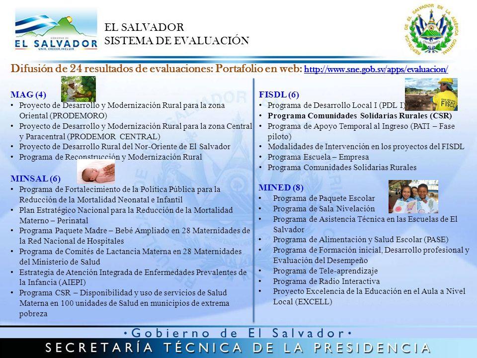 Agenda de Evaluación 2013 – 2014 (9 programas sociales en proceso de Evaluación) EL SALVADOR SISTEMA DE EVALUACIÓN