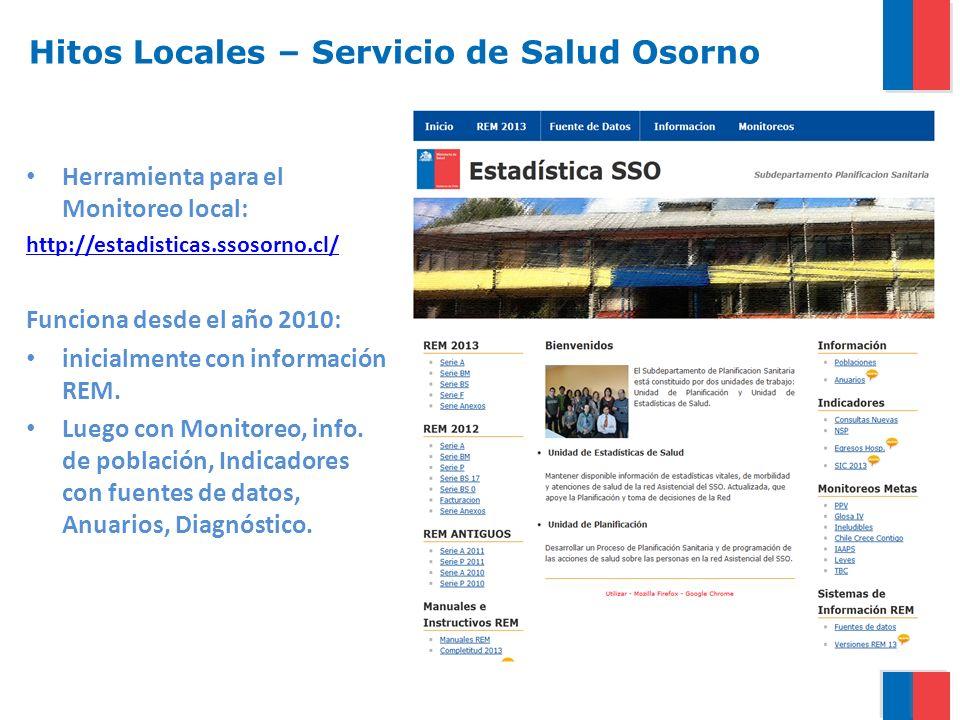 Herramienta para el Monitoreo local: http://estadisticas.ssosorno.cl/ Funciona desde el año 2010: inicialmente con información REM. Luego con Monitore