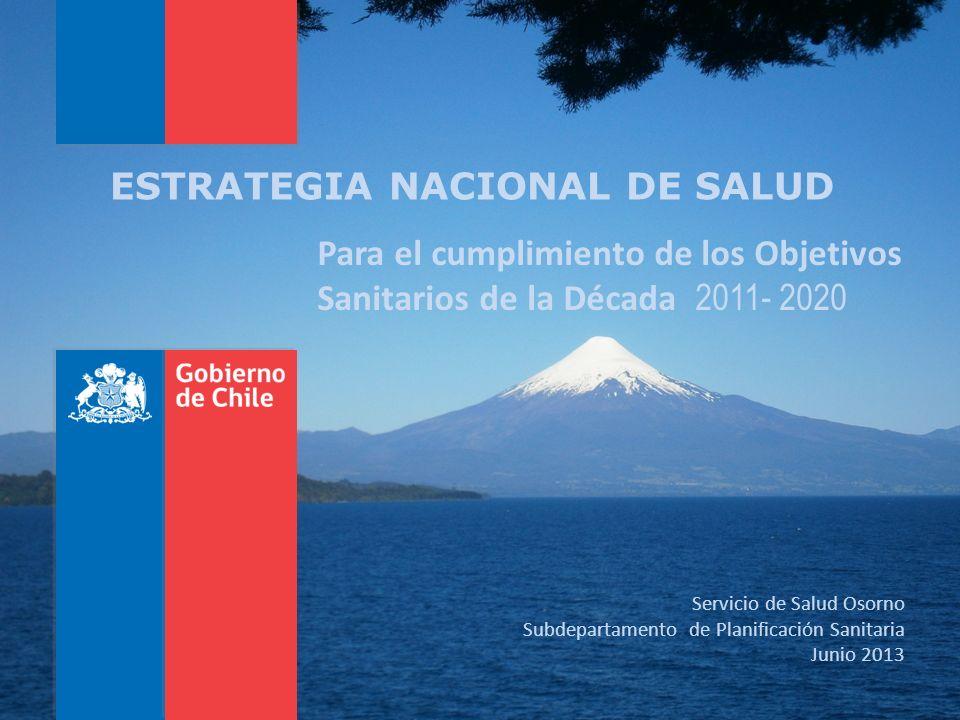 ESTRATEGIA NACIONAL DE SALUD Para el cumplimiento de los Objetivos Sanitarios de la Década 2011- 2020 Servicio de Salud Osorno Subdepartamento de Plan