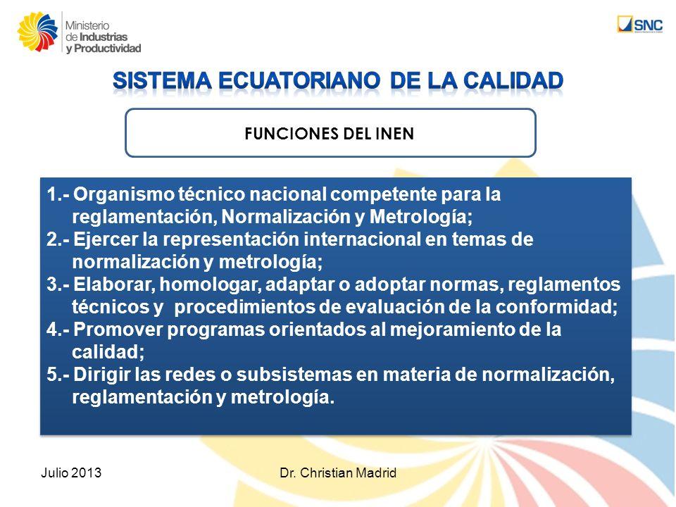 FUNCIONES DEL INEN 1.- Organismo técnico nacional competente para la reglamentación, Normalización y Metrología; 2.- Ejercer la representación interna