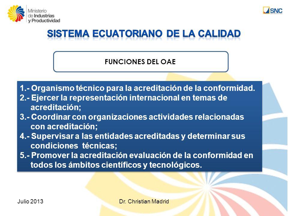 Julio 2013Dr. Christian Madrid 1.- Organismo técnico para la acreditación de la conformidad. 2.- Ejercer la representación internacional en temas de a