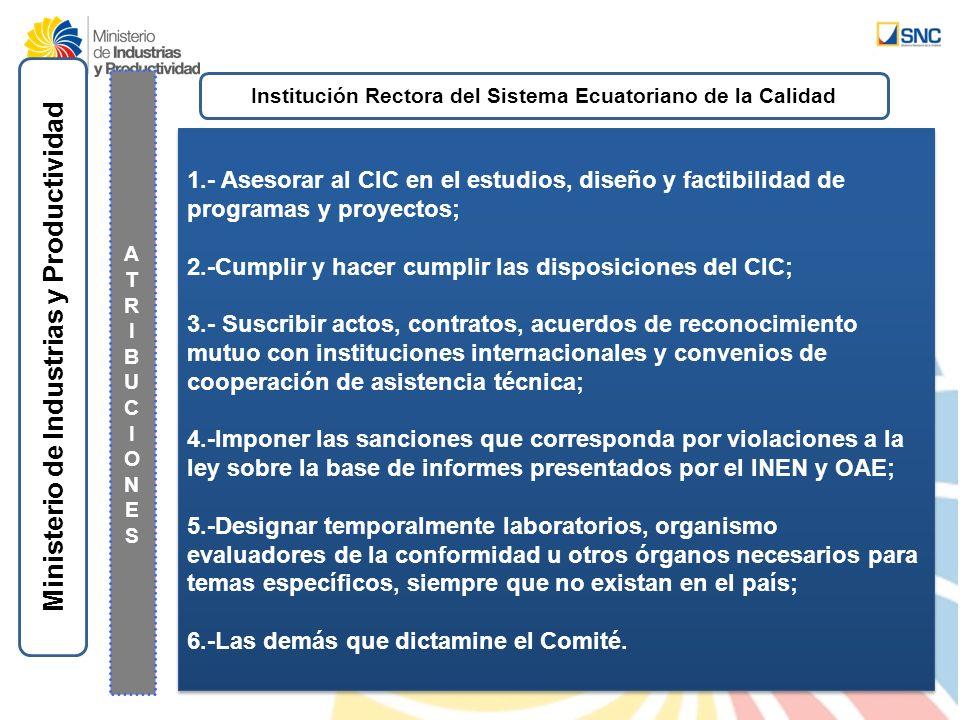 Ministerio de Industrias y Productividad ATRIBUCIONESATRIBUCIONES 1.- Asesorar al CIC en el estudios, diseño y factibilidad de programas y proyectos;