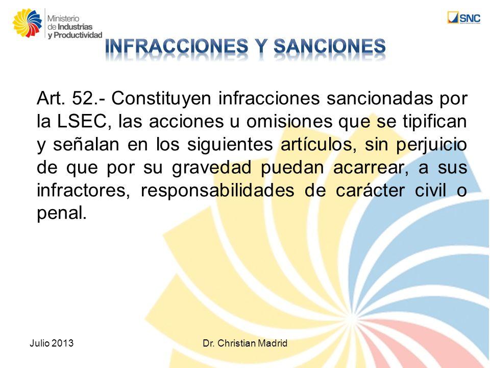 Art. 52.- Constituyen infracciones sancionadas por la LSEC, las acciones u omisiones que se tipifican y señalan en los siguientes artículos, sin perju
