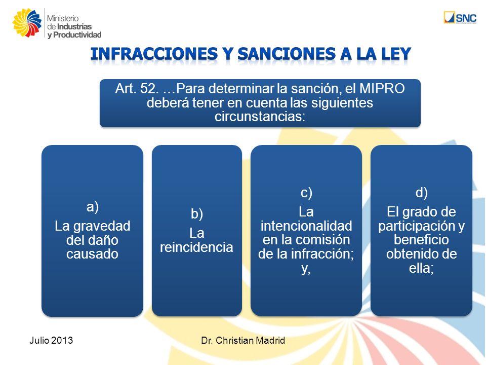 Julio 2013Dr. Christian Madrid a) La gravedad del daño causado Art. 52. …Para determinar la sanción, el MIPRO deberá tener en cuenta las siguientes ci