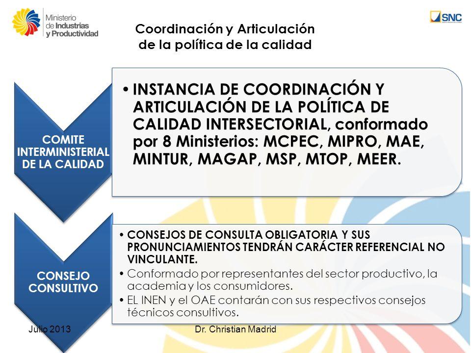 Coordinación y Articulación de la política de la calidad COMITE INTERMINISTERIAL DE LA CALIDAD INSTANCIA DE COORDINACIÓN Y ARTICULACIÓN DE LA POLÍTICA