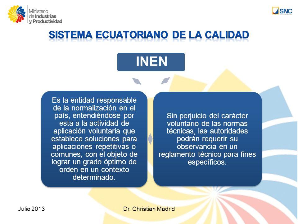 Julio 2013Dr. Christian Madrid INEN Sin perjuicio del carácter voluntario de las normas técnicas, las autoridades podrán requerir su observancia en un