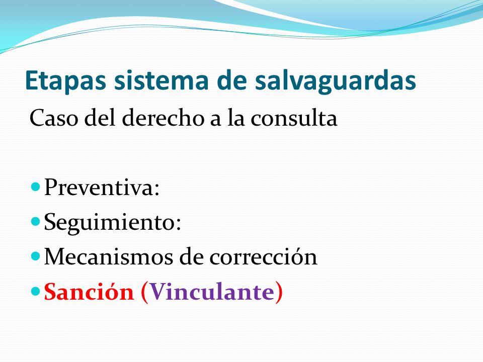 Etapas sistema de salvaguardas Caso del derecho a la consulta Preventiva: Seguimiento: Mecanismos de corrección Sanción (Vinculante)