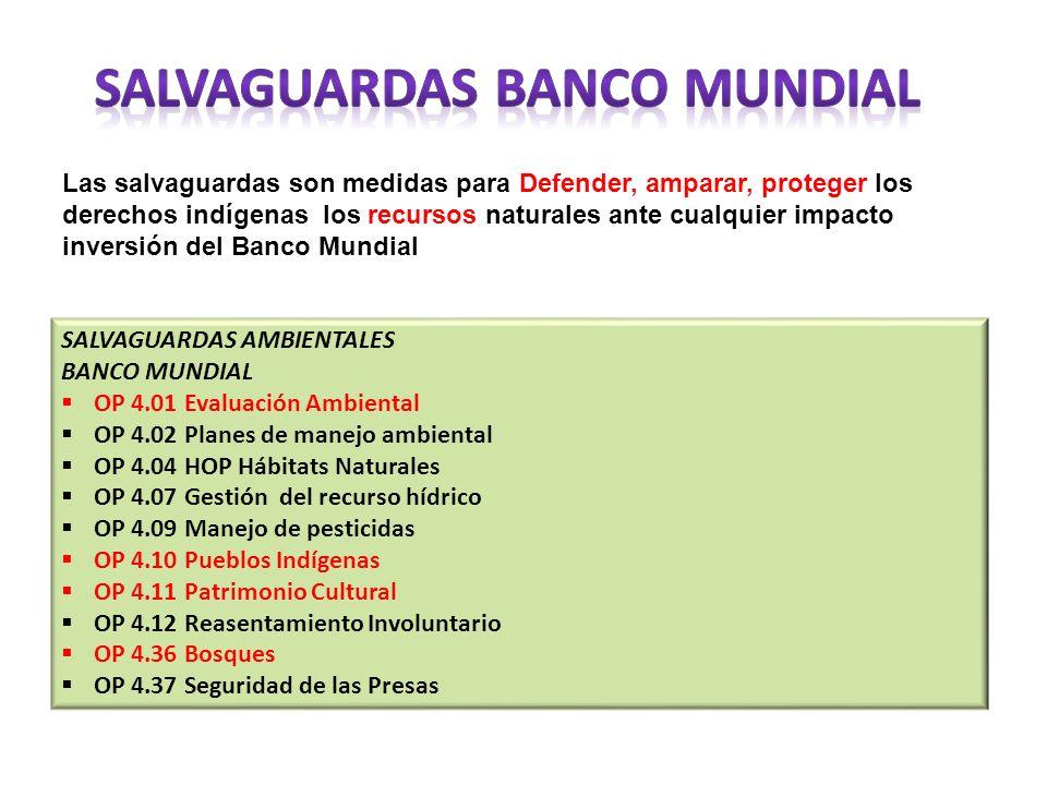 Las salvaguardas son medidas para Defender, amparar, proteger los derechos indígenas los recursos naturales ante cualquier impacto inversión del Banco