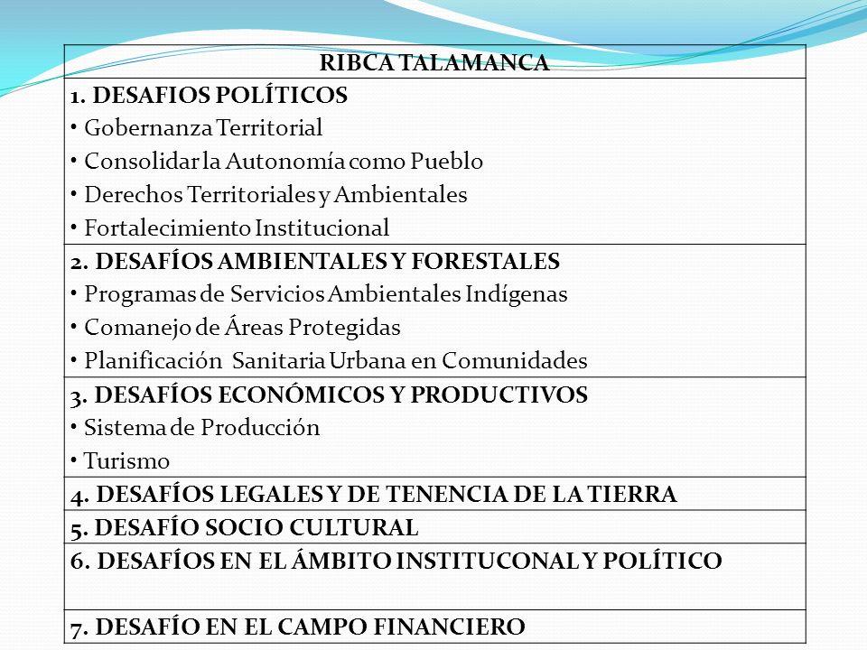 RIBCA TALAMANCA 1. DESAFIOS POLÍTICOS Gobernanza Territorial Consolidar la Autonomía como Pueblo Derechos Territoriales y Ambientales Fortalecimiento