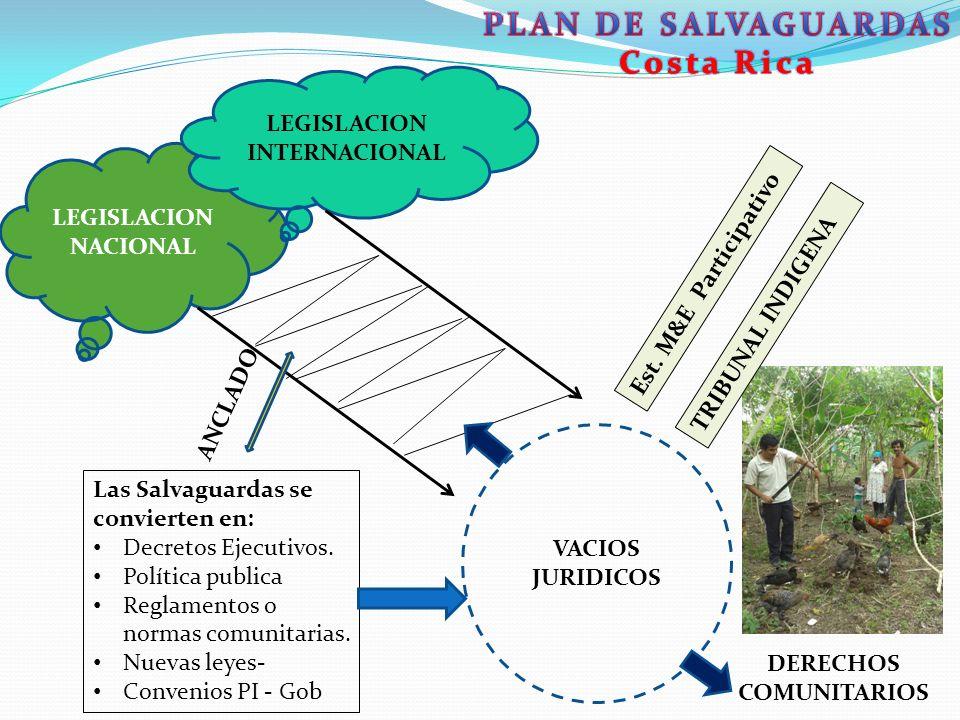 LEGISLACION NACIONAL LEGISLACION INTERNACIONAL DERECHOS COMUNITARIOS VACIOS JURIDICOS Las Salvaguardas se convierten en: Decretos Ejecutivos. Política