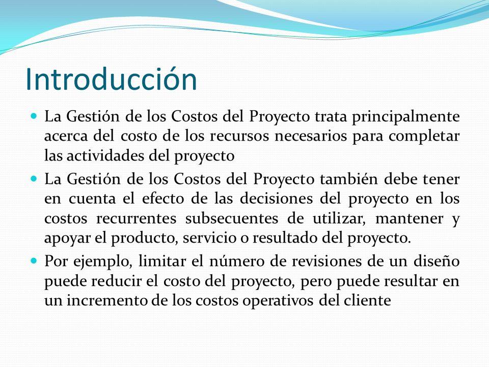 Introducción La Gestión de los Costos del Proyecto trata principalmente acerca del costo de los recursos necesarios para completar las actividades del
