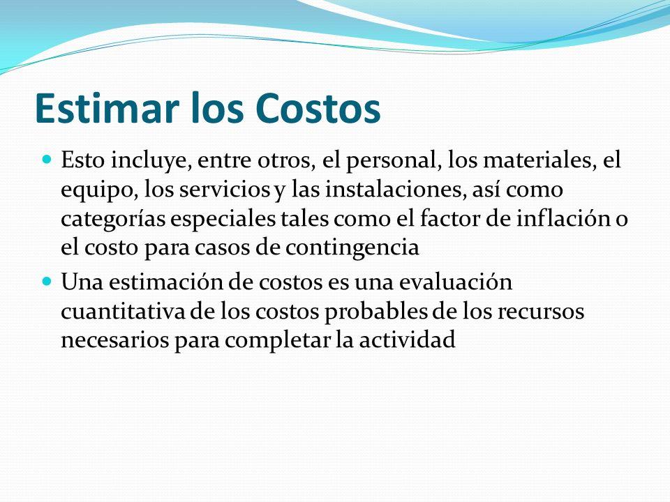 Estimar los Costos Esto incluye, entre otros, el personal, los materiales, el equipo, los servicios y las instalaciones, así como categorías especiale