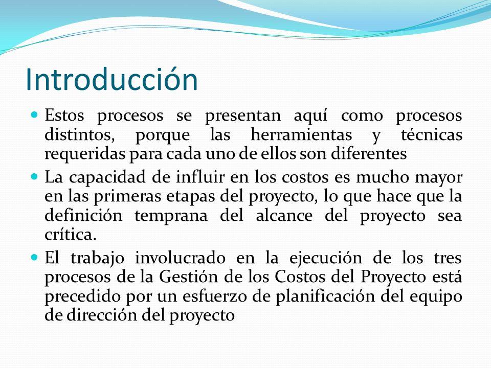 Introducción Este esfuerzo de planificación es parte del proceso Desarrollar el Plan para la Dirección del Proyecto, lo cual produce un plan de gestión de costos que determina el formato y establece los criterios necesarios para planificar, estructurar, estimar, presupuestar y controlar los costos del proyecto Los procesos de Gestión de los Costos del Proyecto, así como sus herramientas y técnicas asociadas, se seleccionan generalmente durante la definición del ciclo de vida del proyecto y se documentan en el plan de gestión de costos.