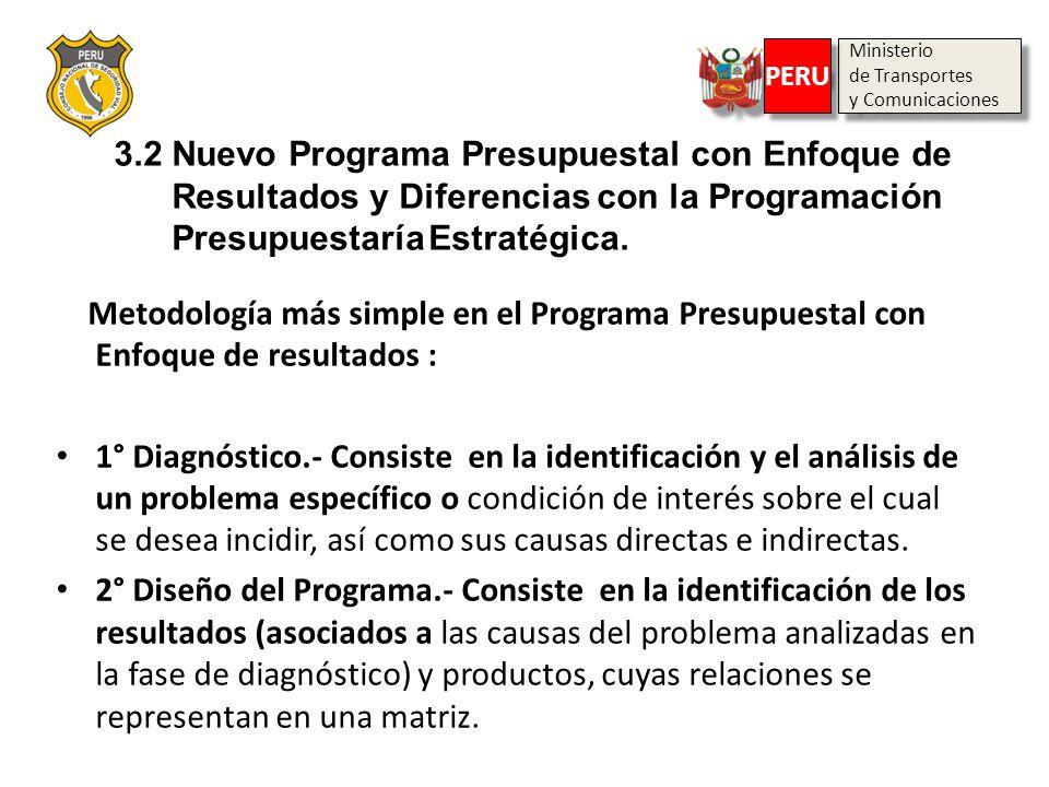 Ministerio de Transportes y Comunicaciones Ministerio de Transportes y Comunicaciones PERU 3.2 Nuevo Programa Presupuestal con Enfoque de Resultados y