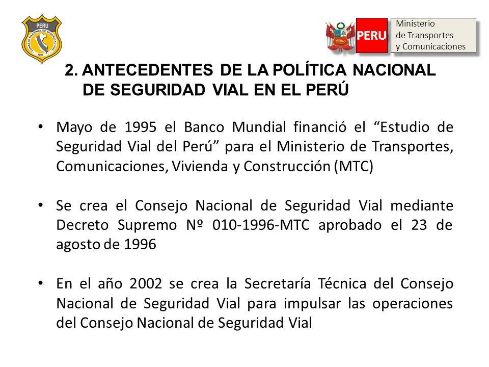 Ministerio de Transportes y Comunicaciones Ministerio de Transportes y Comunicaciones PERU 2. ANTECEDENTES DE LA POLÍTICA NACIONAL DE SEGURIDAD VIAL E