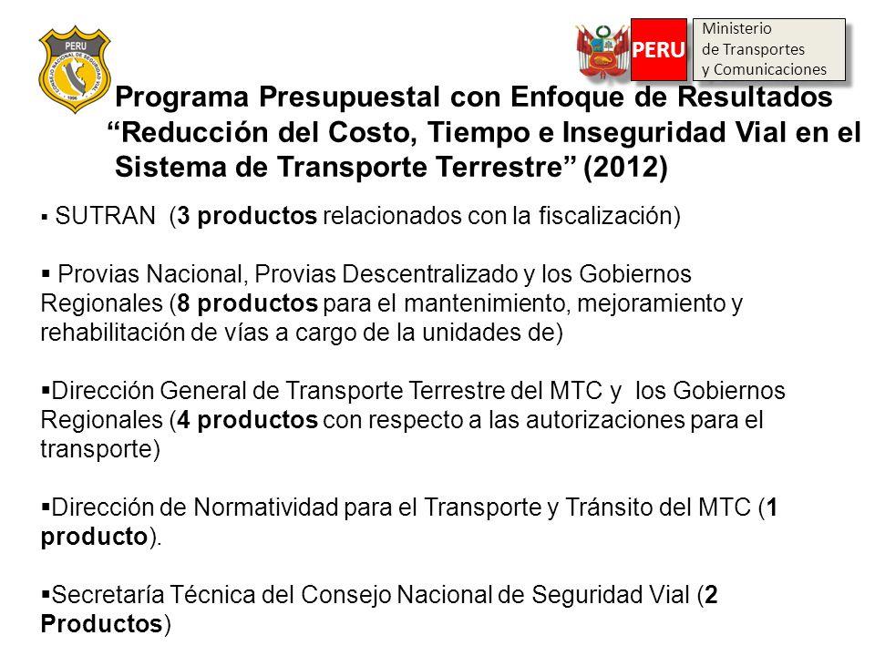 Programa Presupuestal con Enfoque de Resultados Reducción del Costo, Tiempo e Inseguridad Vial en el Sistema de Transporte Terrestre (2012) Ministerio
