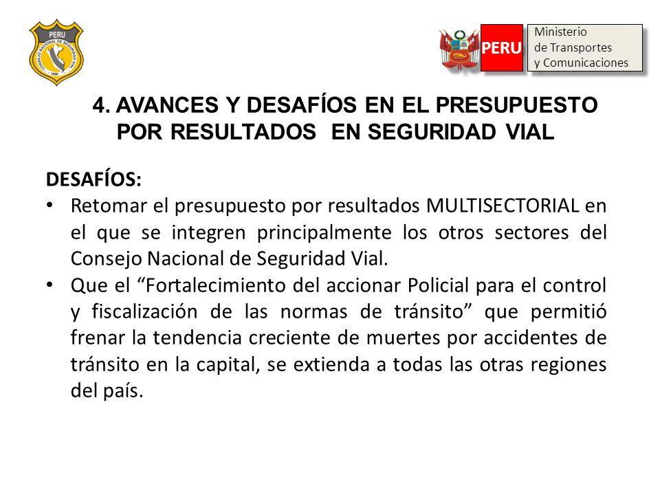 Ministerio de Transportes y Comunicaciones Ministerio de Transportes y Comunicaciones PERU DESAFÍOS: Retomar el presupuesto por resultados MULTISECTOR