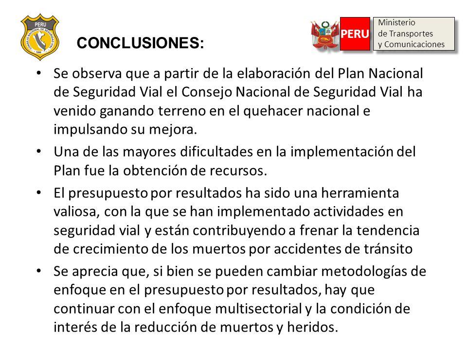 Ministerio de Transportes y Comunicaciones Ministerio de Transportes y Comunicaciones PERU CONCLUSIONES: Se observa que a partir de la elaboración del