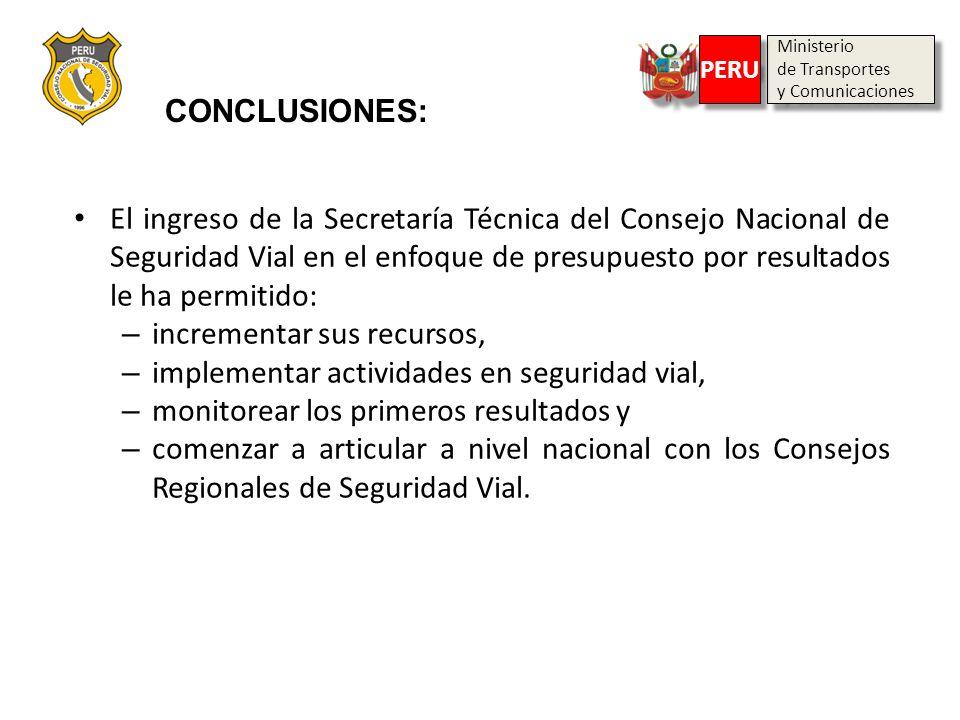 Ministerio de Transportes y Comunicaciones Ministerio de Transportes y Comunicaciones PERU CONCLUSIONES: El ingreso de la Secretaría Técnica del Conse