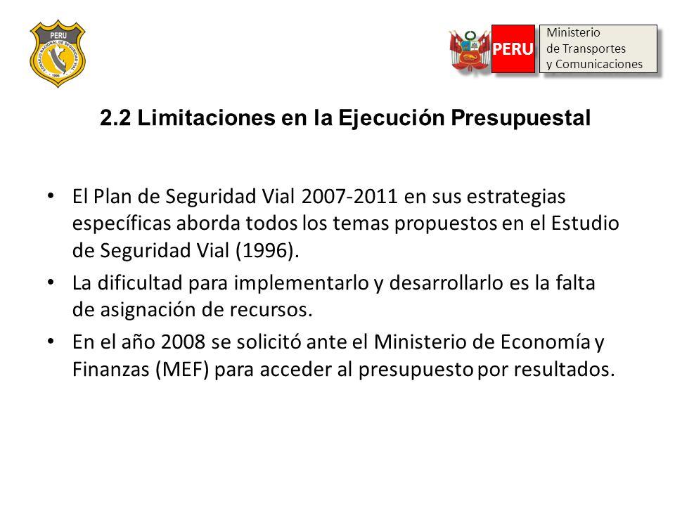 Ministerio de Transportes y Comunicaciones Ministerio de Transportes y Comunicaciones PERU 2.2 Limitaciones en la Ejecución Presupuestal El Plan de Se