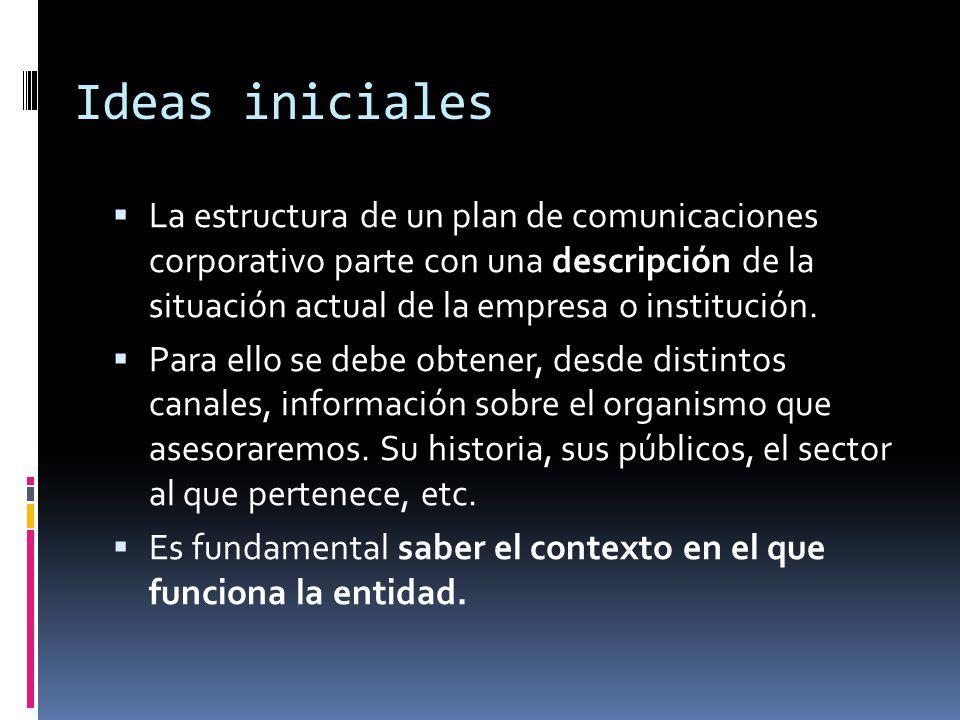 Ideas iniciales La estructura de un plan de comunicaciones corporativo parte con una descripción de la situación actual de la empresa o institución. P