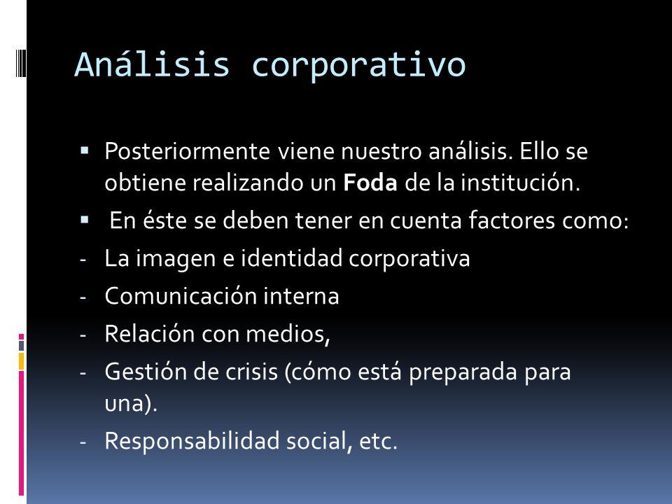 Análisis corporativo Posteriormente viene nuestro análisis. Ello se obtiene realizando un Foda de la institución. En éste se deben tener en cuenta fac