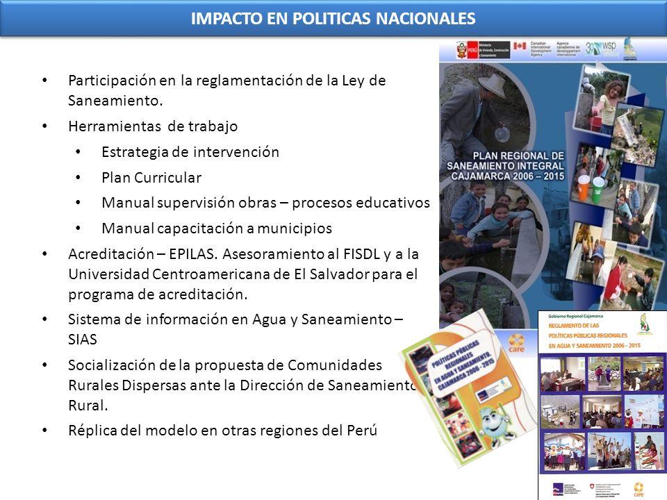 IMPACTO EN POLITICAS NACIONALES Participación en la reglamentación de la Ley de Saneamiento. Herramientas de trabajo Estrategia de intervención Plan C