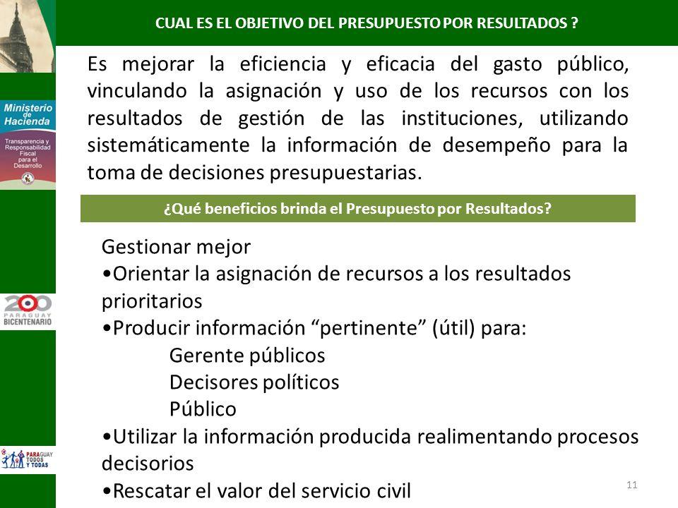 11 Gestionar mejor Orientar la asignación de recursos a los resultados prioritarios Producir información pertinente (útil) para: Gerente públicos Deci