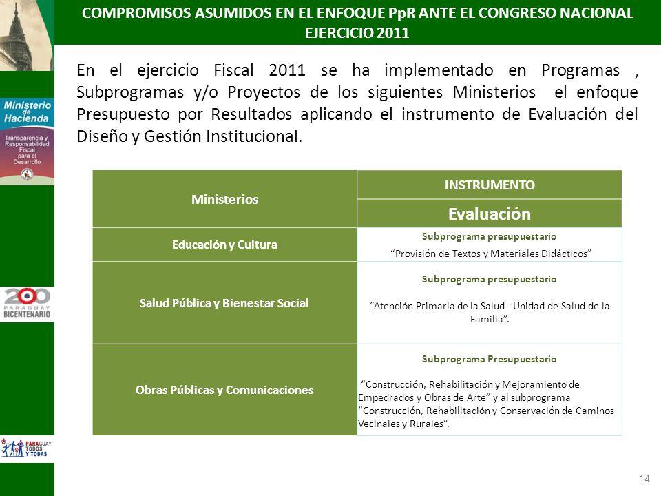 14 En el ejercicio Fiscal 2011 se ha implementado en Programas, Subprogramas y/o Proyectos de los siguientes Ministerios el enfoque Presupuesto por Re
