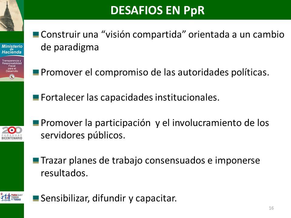 16 Construir una visión compartida orientada a un cambio de paradigma Promover el compromiso de las autoridades políticas. Fortalecer las capacidades