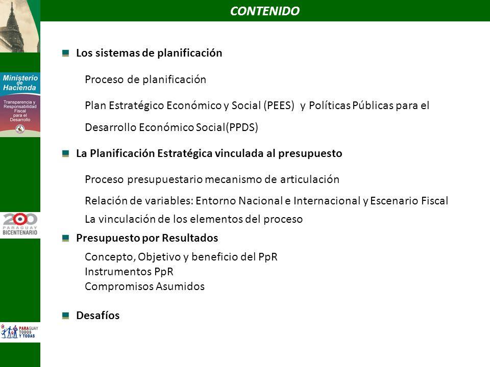 Los sistemas de planificación Proceso de planificación Plan Estratégico Económico y Social (PEES) y Políticas Públicas para el Desarrollo Económico So