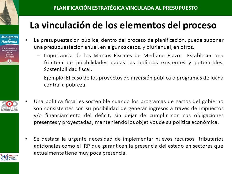 La vinculación de los elementos del proceso La presupuestación pública, dentro del proceso de planificación, puede suponer una presupuestación anual,