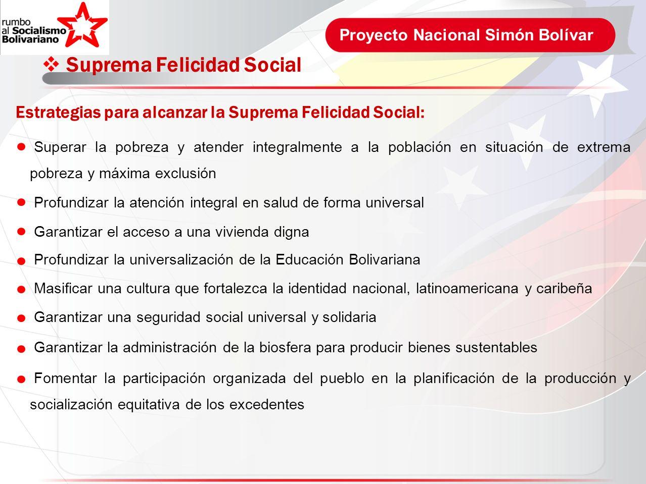 Proyecto Nacional Simón Bolívar Suprema Felicidad Social Estrategias para alcanzar la Suprema Felicidad Social: Superar la pobreza y atender integralm