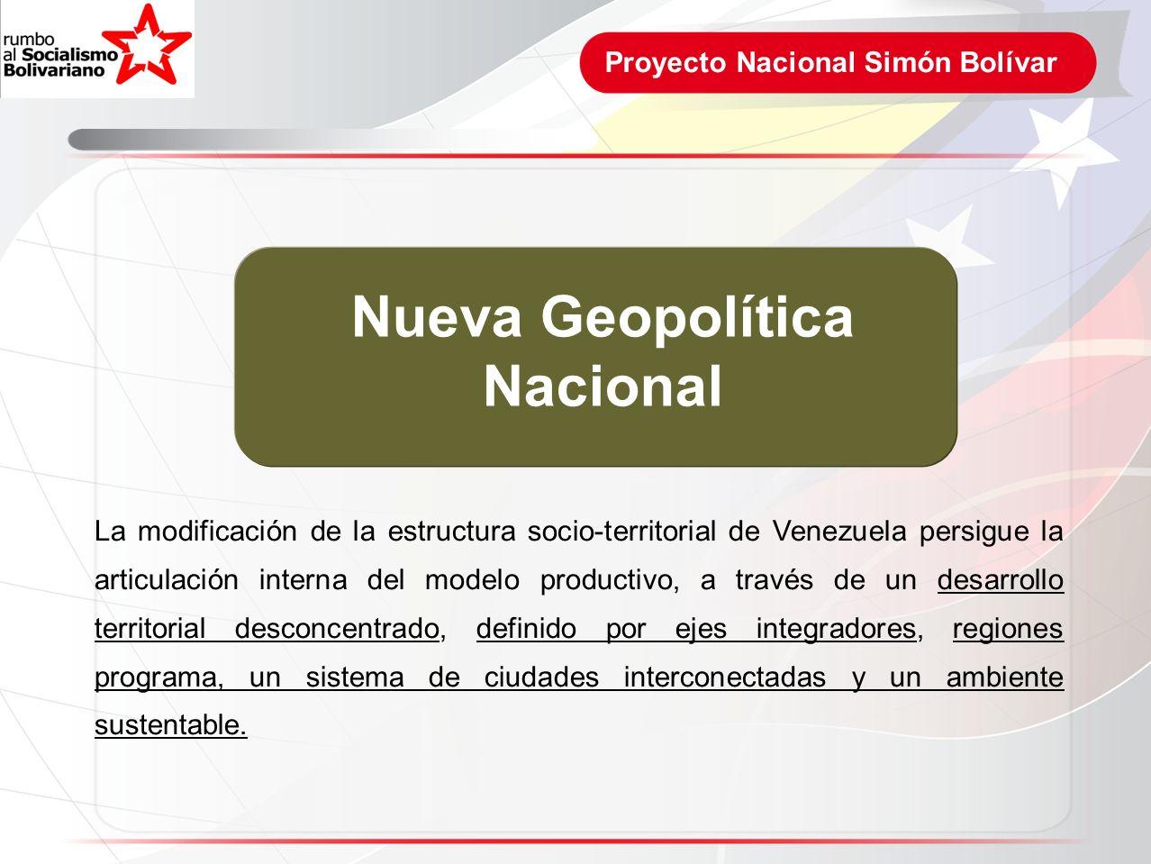 Proyecto Nacional Simón Bolívar Nueva Geopolítica Nacional La modificación de la estructura socio-territorial de Venezuela persigue la articulación in