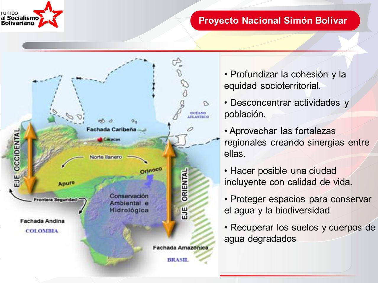 Proyecto Nacional Simón Bolívar Profundizar la cohesión y la equidad socioterritorial. Desconcentrar actividades y población. Aprovechar las fortaleza