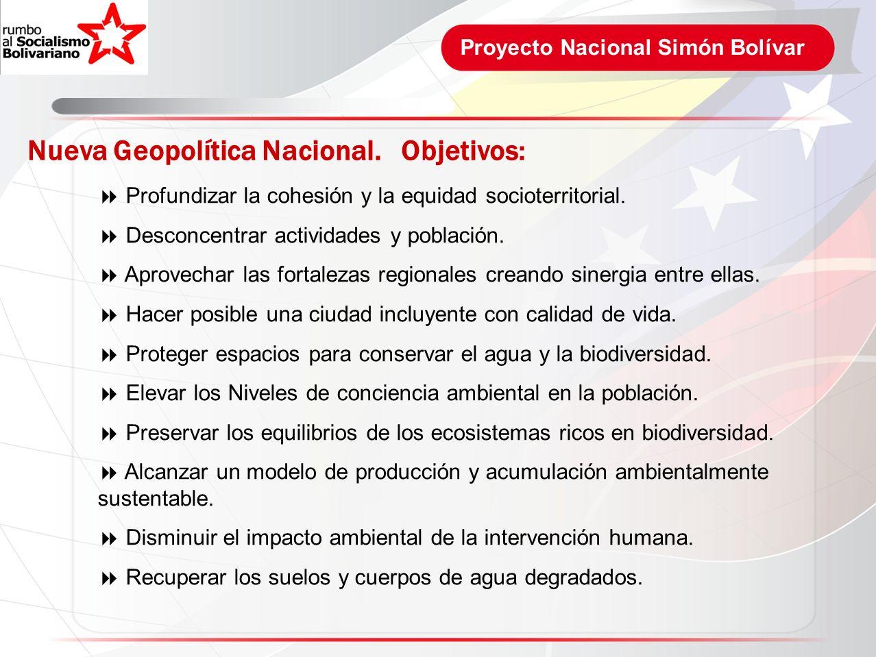 Proyecto Nacional Simón Bolívar Nueva Geopolítica Nacional. Objetivos: Profundizar la cohesión y la equidad socioterritorial. Desconcentrar actividade
