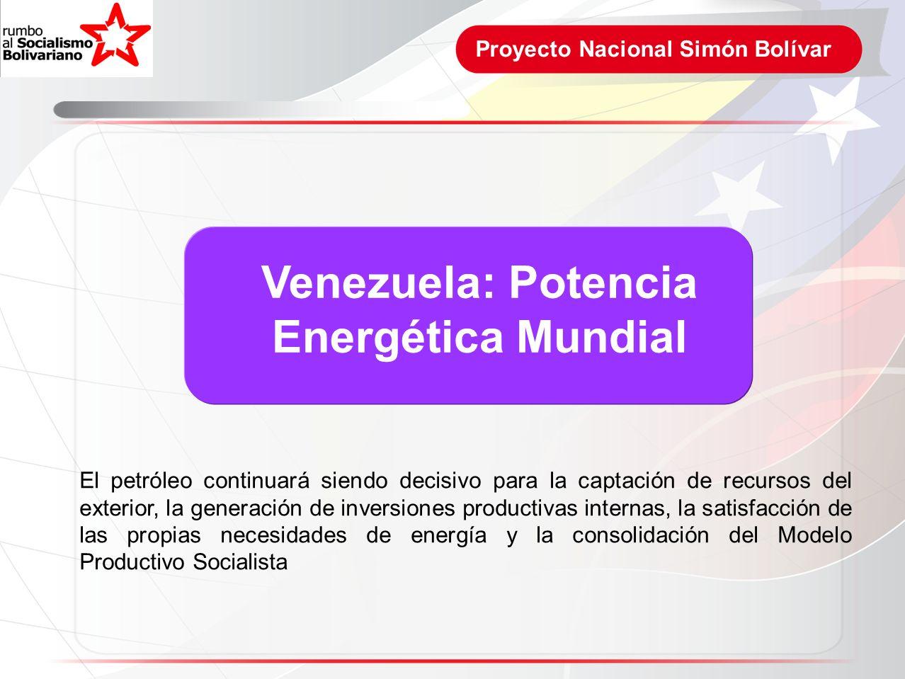 Proyecto Nacional Simón Bolívar Venezuela: Potencia Energética Mundial El petróleo continuará siendo decisivo para la captación de recursos del exteri