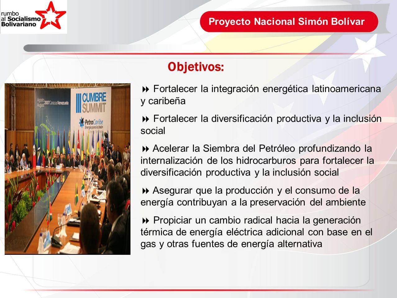 Proyecto Nacional Simón Bolívar Objetivos: Fortalecer la integración energética latinoamericana y caribeña Fortalecer la diversificación productiva y