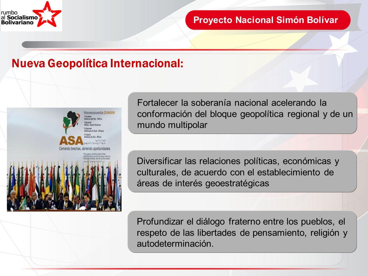 Proyecto Nacional Simón Bolívar Nueva Geopolítica Internacional: Fortalecer la soberanía nacional acelerando la conformación del bloque geopolítica re