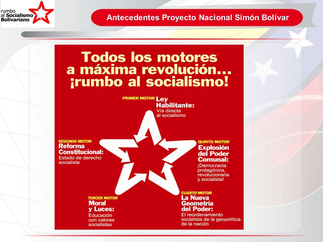 Proyecto Nacional Simón Bolívar Venezuela: Potencia Energética Mundial El petróleo continuará siendo decisivo para la captación de recursos del exterior, la generación de inversiones productivas internas, la satisfacción de las propias necesidades de energía y la consolidación del Modelo Productivo Socialista