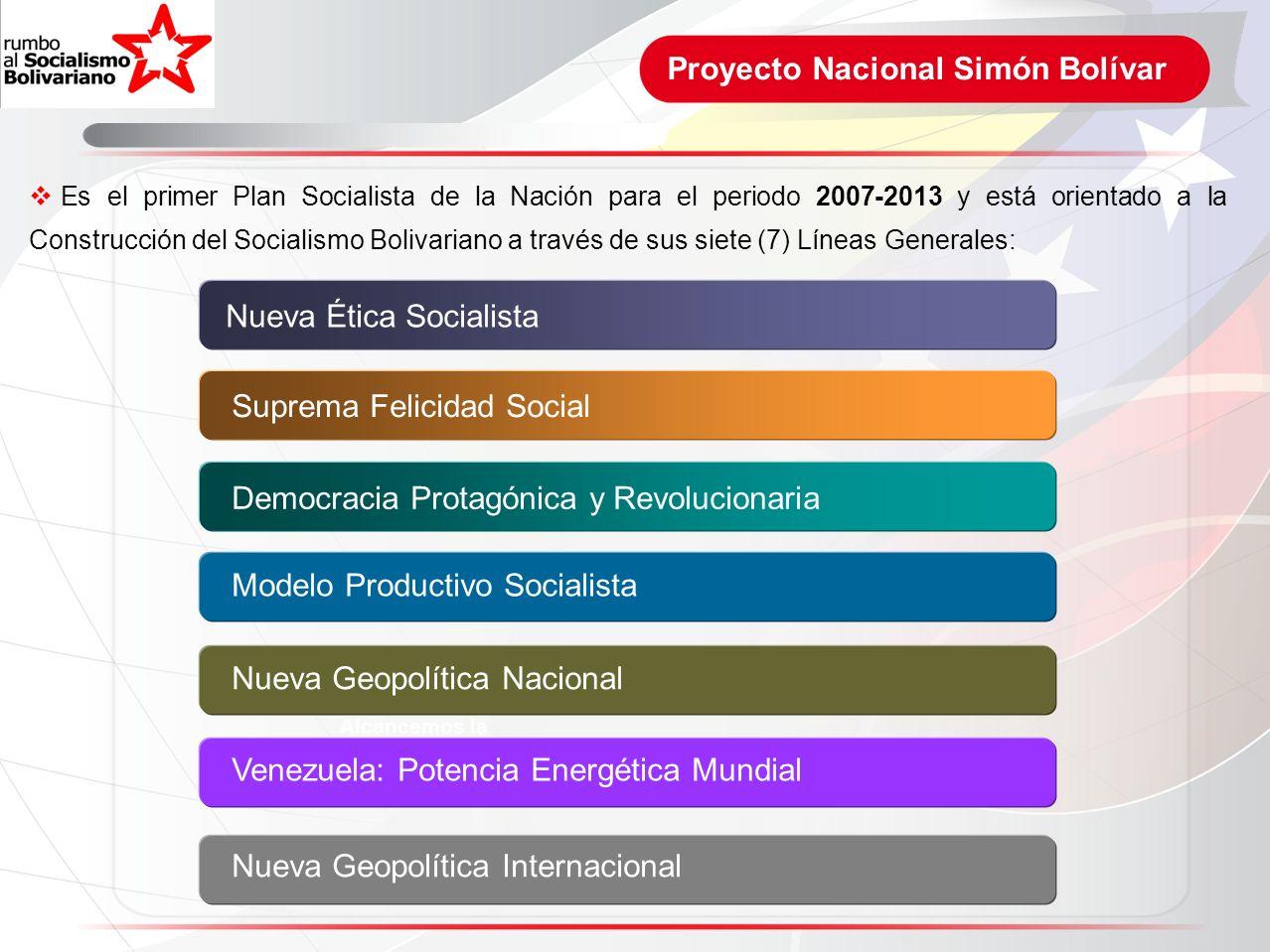 Proyecto Nacional Simón Bolívar Alcancemos la Justicia Social Es el primer Plan Socialista de la Nación para el periodo 2007-2013 y está orientado a l