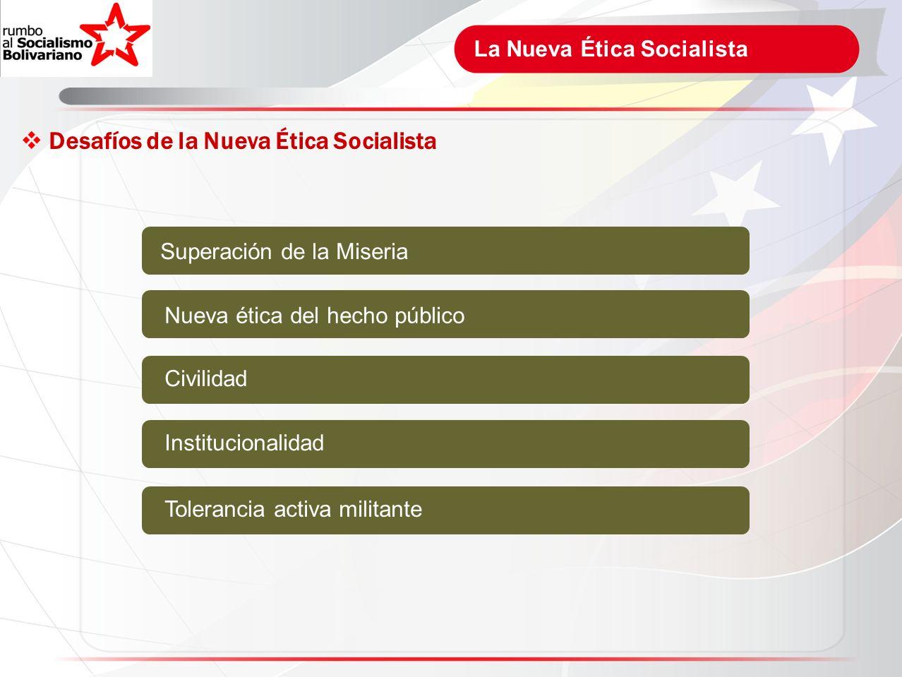 La Nueva Ética Socialista Desafíos de la Nueva Ética Socialista Superación de la Miseria Nueva ética del hecho público Civilidad Institucionalidad Tol