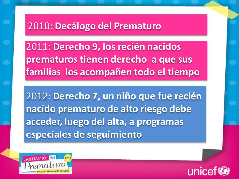2010: Decálogo del Prematuro 2011: Derecho 9, los recién nacidos prematuros tienen derecho a que sus familias los acompañen todo el tiempo 2012: Derec
