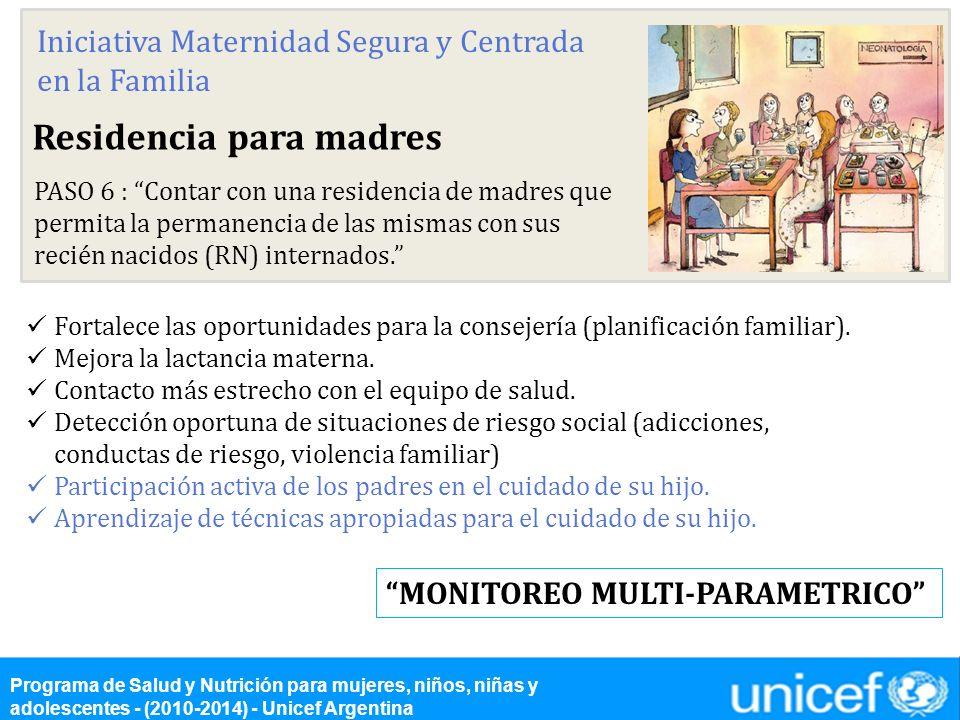Residencia para madres PASO 6 : Contar con una residencia de madres que permita la permanencia de las mismas con sus recién nacidos (RN) internados. F