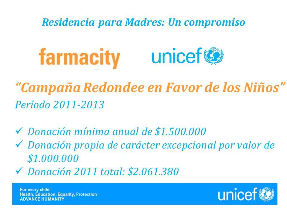 Residencia para Madres: Un compromiso Campaña Redondee en Favor de los Niños Período 2011-2013 Donación mínima anual de $1.500.000 Donación propia de carácter excepcional por valor de $1.000.000 Donación 2011 total: $2.061.380