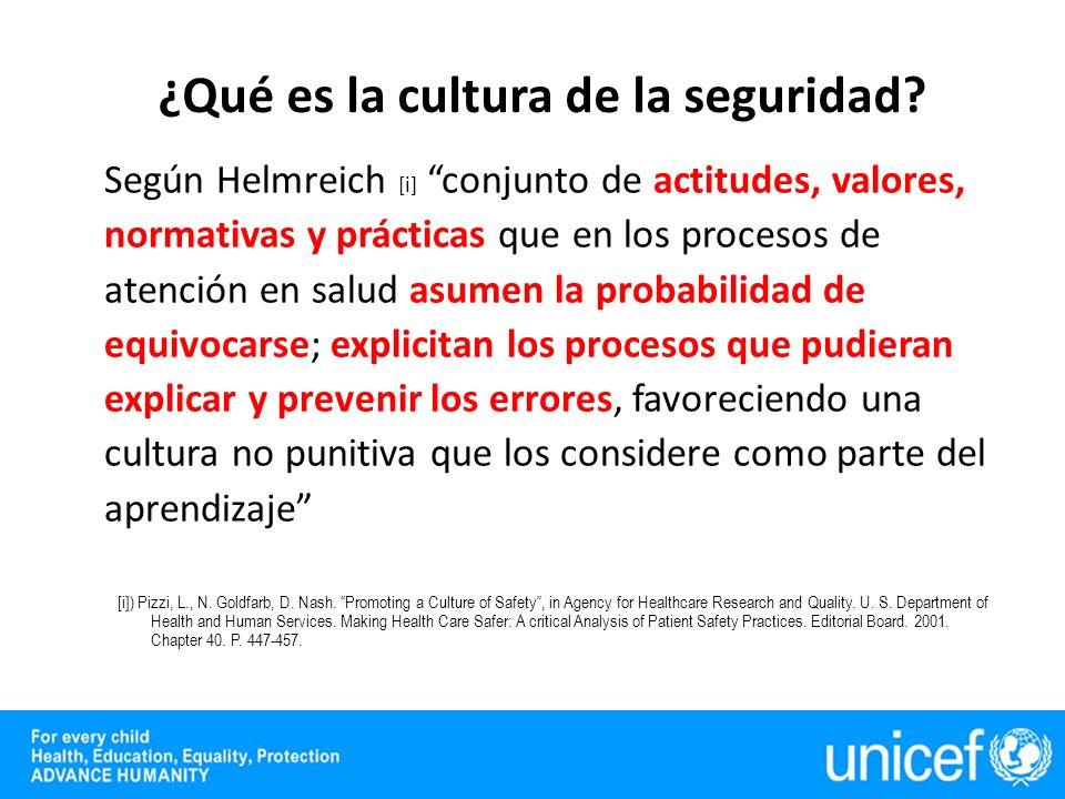 Según Helmreich [i] conjunto de actitudes, valores, normativas y prácticas que en los procesos de atención en salud asumen la probabilidad de equivocarse; explicitan los procesos que pudieran explicar y prevenir los errores, favoreciendo una cultura no punitiva que los considere como parte del aprendizaje [i]) Pizzi, L., N.