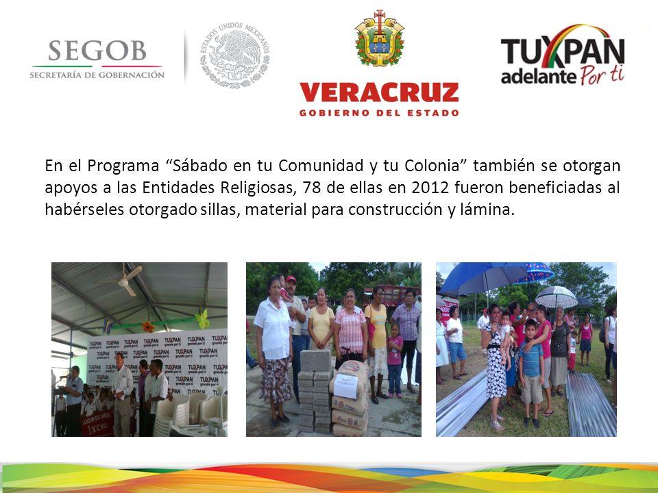 En el Programa Sábado en tu Comunidad y tu Colonia también se otorgan apoyos a las Entidades Religiosas, 78 de ellas en 2012 fueron beneficiadas al ha