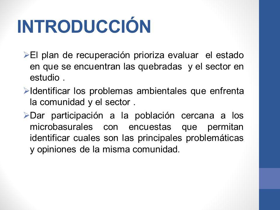 INTRODUCCIÓN El plan de recuperación prioriza evaluar el estado en que se encuentran las quebradas y el sector en estudio. Identificar los problemas a