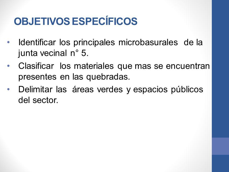 OBJETIVOS ESPECÍFICOS Identificar los principales microbasurales de la junta vecinal n° 5. Clasificar los materiales que mas se encuentran presentes e